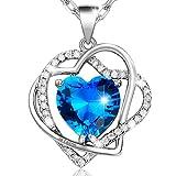 MARENJA Cristal-Collier Femme en Coeurs Entrelacés-Cristal Bleu D'Océan-Gravé «Je t'aime»-Plaqué Or Blanc-Bijoux Fantaisie-44+5cm
