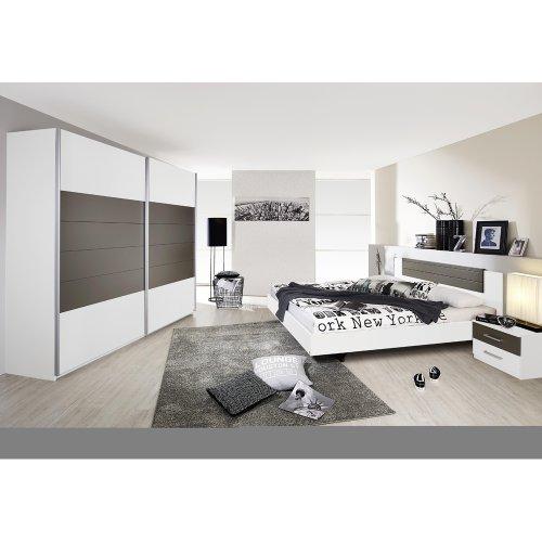 Rauch Schlafzimmer Komplett Weiß, Schlafzimmer Set mit Schwebetürenschrank, Bett, Nachtkommoden, Absetzungen Lavagrau Nachbildung (Schlafzimmer Matratze-komplett-sets)