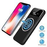 Drahtloses Schnellladegerät,10,000mAh Ausgang Zusatzakku Tragbare USB Ladegerät für Samsung Galaxy Note 8/S8/S8 Plus/S7 Edge/iPhone 8/8 Plus/iPhone X und alle Qi-fähigen Geräte Andere Micro-USB-Geräte (Schwarz)
