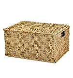 east2eden Lidded Seagrass Storage Hamper Basket in Choice of Sizes (Medium)