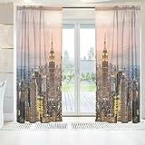 ingbags Elegante Voile Fenster Lange Sheer Vorhang 2Platten New York City Wolkenkratzer Sonnenuntergang Print Tüll Polyester für Tür Fenster Zimmer Dekoration 139,7x 198,1cm, Set von 2, Polyester, mehrfarbig, 55 x 84 Inch