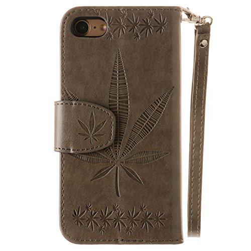 iPhone Case Cover IPhone 7 Fall-Abdeckung, doppelte seitliche Prägung Blumen-Qualitäts-Schlag-Standplatz PU-lederner Kasten mit Abzuglinie-Mappe u. Karte Bargeldschlitze für IPhone 7 ( Color : Gray ,  Gray