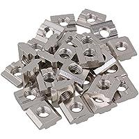 BQLZR Tuercas deslizantes en T de acero al carbono plateado plateado Tuercas deslizantes en M8 para el paquete de ranuras de extrusión de perfil de aluminio estándar europeo Serie 30 de 30