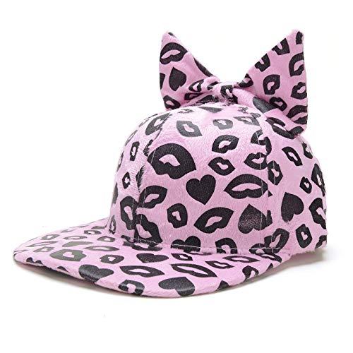 zhuzhuwen Mädchen-Lippenleopard-Art-weiches nettes Mädchen-Nette Katzen-Ohr-Kappen-Trend-Baseballmütze 2 justierbar -