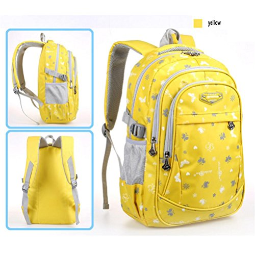 QPYC Studente dello zaino Modo di svago degli studenti della scuola primaria e secondaria Uomini e donne Borsa borsa Zaino borsa leggera , blue yellow