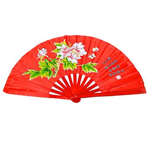 Chinesischer Klappfächer, für Kampf- und Tanzsport, Bambus, Peony flower red background (Chinese Mandarin Kostüm)