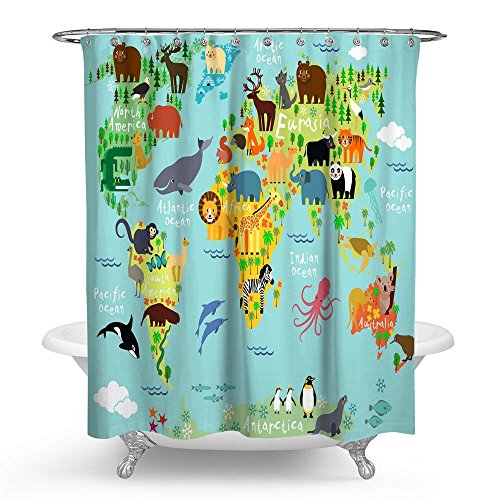 e Weltkarte Wasserdicht Bad Duschvorhang Cartoon Wildlife Kontinent Forest Badezimmer Dusche Vorhang Standard Größe 177,8x 177,8cm blau ()