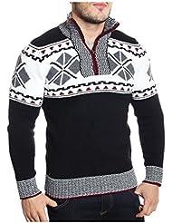 Tazzio - Pull noir à motifs brodés col montant