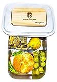 Alpin Loacker Edelstahl Lunchbox Groß 1800ml Schneidbrett - Brotdose, Bento Box, Vesperdosen | mit Fächern, Trennwand | Die große Meal Prep Brotbox Wandern, Reisen, Klettern.