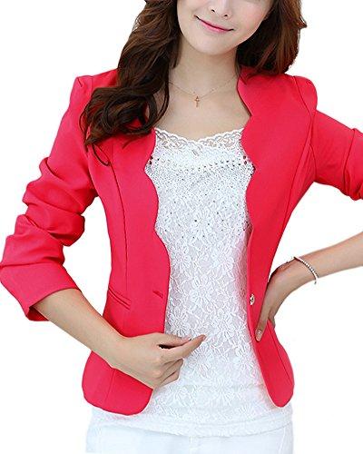 ZhuiKun Donna Blazer Slim Fit Maniche Lunghe Corta Giacca Casual Jacket Rose M