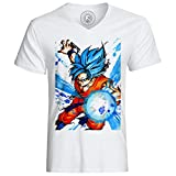 T-shirt god goku dragon ball super cheveux bleu sangoku dbz manga