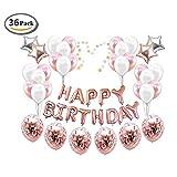 ICheap Konfetti Latex Luftballons Rosegold Weiß, Happy Birthday Ballons, Geburtstag für Baby Shower Girl Adult Geburtstag Party Dekorationen