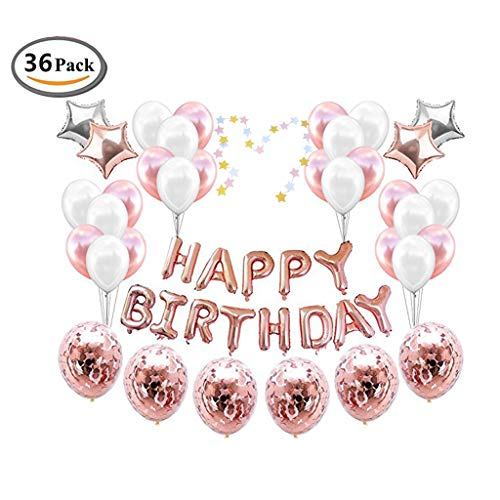 ICheap Konfetti Latex Luftballons Rosegold Weiß, Happy Birthday Ballons, Geburtstag für Baby Shower Girl Adult Geburtstag Party Dekorationen