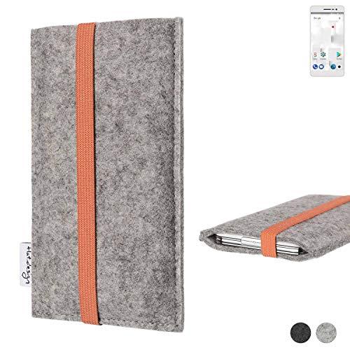 flat.design Handy Hülle Coimbra für Thomson Delight TH201 - Schutz Case Tasche Filz Made in Germany hellgrau orange