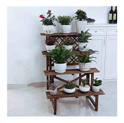 JH Blumenständer Einfaches Wohnzimmer Mehrschichtige Kiefer Starke Last Lagerung Sparen Sie Platz Faltbarer Balkon Topf Rack
