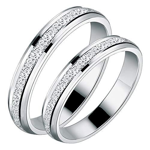 Peora Stainless Steel Silver Frosted Wedding Anniversary Couple Engagement Rings for Men Women Proposal Wedding Bands