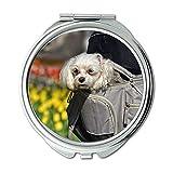 Spiegel, Reise-Spiegel, Kleiner Hund Hund Tier Säugetier Canine Pet Domestic, Taschenspiegel, tragbarer Spiegel
