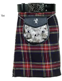 Stewart 5 m noir - 10 oz Motif Tartan écossais traditionnel Highland Chaussettes de Kilt pour homme