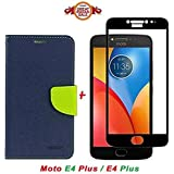 Like It Grab It Luxury Mercury Diary Wallet Style Blue Flip Cover Case For Motorola Moto E4 Plus Flip Cover - Moto E4 Plus Flip Cover + 2.5D Curved 3D Edge To Edge Tempered Glass Mobile Screen Protector (Blue-Black)