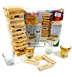Bambelaa! Trinkspiel Partyspiel Wackelturm Drunken Tower inklusive vier Trinkgläser ca. 4cl - Englische Version