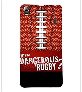 PrintDhaba Rugby D-5953 Back Case Cover for LENOVO A7000 (Multi-Coloured)