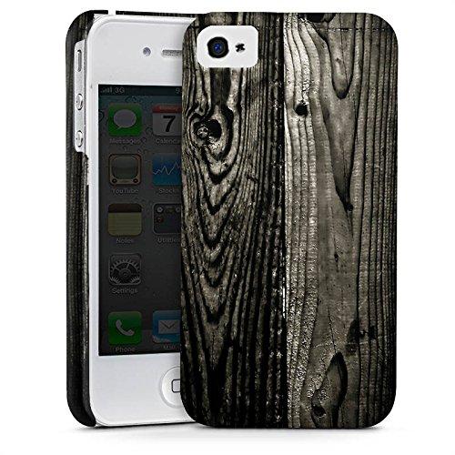 Apple iPhone X Silikon Hülle Case Schutzhülle Ebenholz Look Holz Schwarz Holzwand Premium Case glänzend