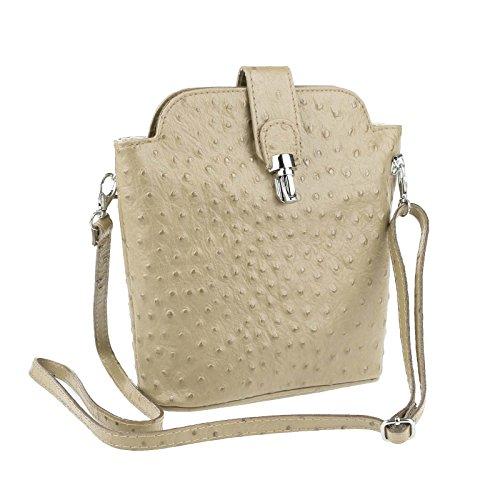 OBC Made in Italy echt Leder Borsetta Strauß Vera Pelle Schmucktasche Umhängetasche Tasche City Bag Schultertasche 19x21x9 cm (BxHxT) (Weiß) Taupe