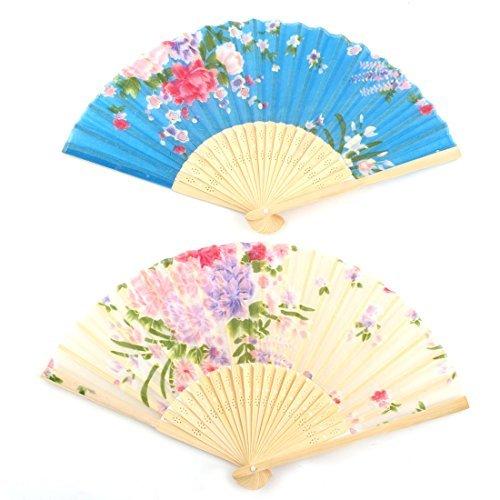 DealMux Lady Dancer en Bambou Cadre Motif Fleur Dansant Pliable à la Main à la Main Fan 2 Pcs