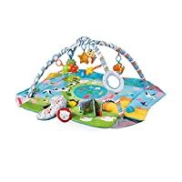 Meero London CH91615B Baby Play Mat, New Born to Toddler Ball Pit, 5 in 1 Activity Gym.5 Toys Plus Mirror and Pillow,Musical Book, Suitable from Birth-Large Size