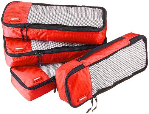 AmazonBasics Lot de 4sacoches de rangement pour bagage TailleSlim, Rouge