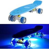 Skateboard con ruote illuminate luminoso, LED, Penny Style Longboard Street Cruiser illuminazione + 5klebel Ichter, (60 Mm Skateboard Ruote)