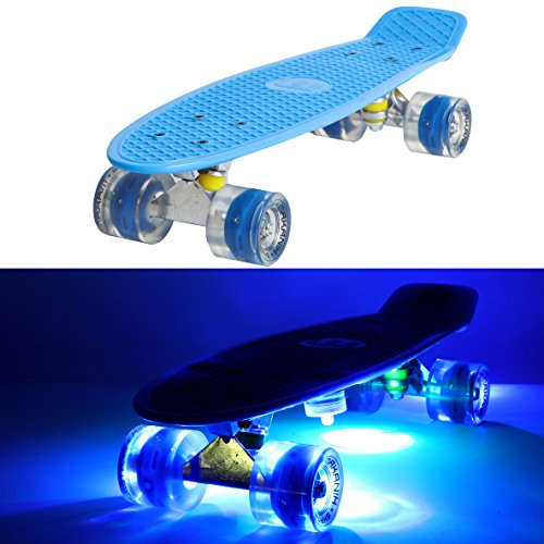 MAKANIH® LED Skateboard mit Leuchtrollen, leuchtend, Penny Style Longboard street cruiser beleuchtung + 5 Klebelichter - (blau)