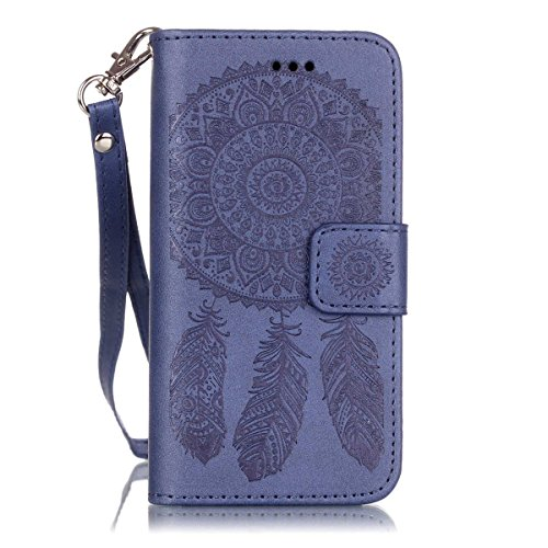 iPhone 6 Coque, iPhone 6S Coque, Lifeturt [ Violet Campanula ] Leather Case Wallet Flip Protective Cover Protector, Etui de Protection PU Cuir Portefeuille Coque Housse Case Cover Coquille Couverture  E02-Marine Campanula