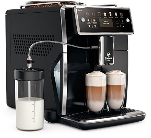 Saeco Xelsis SM7580/00 Macchina da Caffè Automatica, con Macine in Ceramica, 12 Bevande, Filtro AquaClean, Caraffa Latte Esterna, Display a Colori, Nero