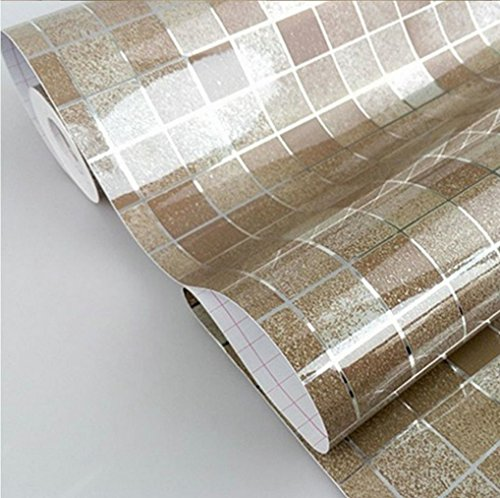 DooXoo 44x200cm Kitchen PVC Aluminum Foil Self-adhensive Mosaic Stickers Oil Wallpaper Wall Stickers Bathroom Mirror Waterproof Wall Sticker (Brown)