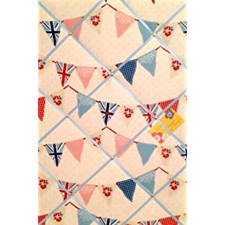 Large 60x40cm Vertical Fryetts Union Jack Blue Bunting / Flag Hand Crafted Fabric Notice / Pin / Memo / Memory Board