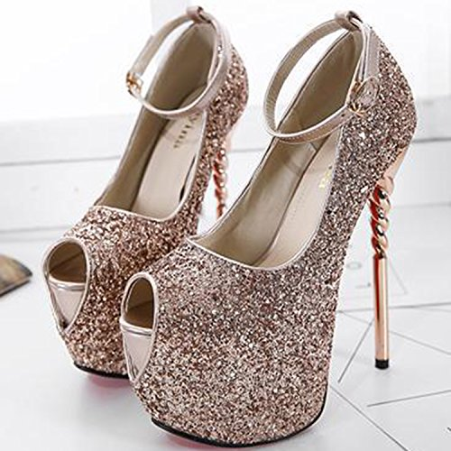 Oasap Women's Peep Toe Platform High Heels Sequins Pumps golden