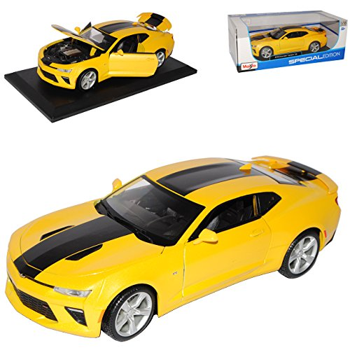 Chevrolet Camaro Coupe Gelb Bumble Bee Transformers 6. Generation Ab 2015 1/18 Maisto Modell Auto mit individiuellem Wunschkennzeichen (Bumble Bee-transformer-auto)