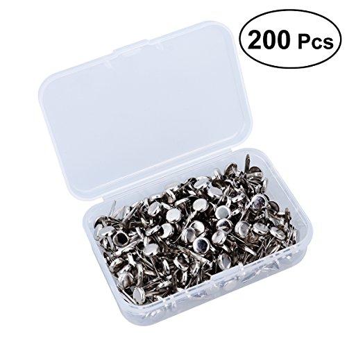 ROSENICE Musterbeutelklammern Rundkopf mit Aufbewahrungsbox für Handwerk DIY 200 Stücke (Silber)