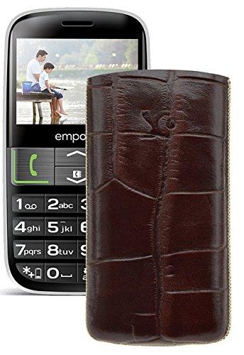 Original Suncase Tasche für / Emporia EUPHORIA V50 / Leder Etui Handytasche Ledertasche Schutzhülle Case Hülle - Lasche mit Rückzugfunktion* In Croco-Braun