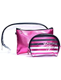 Color Fever Women's Multi Purpose Makeup Bag / Vanity Pouch / Toiletry Travel Kit (Pink)