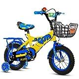 Bicicletas infantiles Bicicleta para niños 12|14|16|18 pulgadas Niño al aire libre Bebé Niño Bicicleta de montaña Regalo de niña de 2 a 10 años con rueda de entrenamiento Flash | Cesta de hierro | Asiento trasero ajustable Carga segura 100KG Azul ( Tamaño : 18 inches )