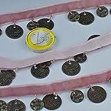 kawenSTOFFE rosa Samtband mit Schmuck Münzen Tanz Karneval orientalisches Klimperband