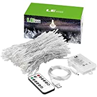 LE Cortina Luces LED USB o PILAS, 3m*3m 300 LED, Mando incluido (8 modos, Intensidad Regulable, Temporizador), Resistente al agua, Blanco frío
