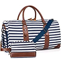 Oflamn Large Overnight Bag Weekend Bag Holdalls Travel Duffle Bag Set with Shoe Compartment Include Toiletry Organizer Bag (Classic Blue Stripe Set)