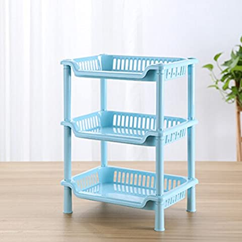 hibote 3 Niveau de petite taille Plastic Place Salle de bains étagère de rangement de cuisine toilettes étagère de stockage, 13 inch , Couleur Bleu