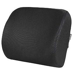 HOMFA Rückenkissen Lendenkissen Lordosekissen Stützkissen Wirbelstütze für Bequeme Sitzhaltung im Alltag Sitzkissen mit verstellbarem Gurt schwarz