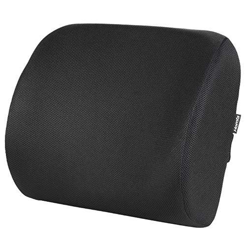 HOMFA Rückenkissen Lendenkissen Lordosekissen Stützkissen Wirbelstütze Sitzkissen gegen Rückenschmerz mit verstellbarem Gurt schwarz