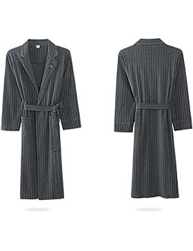 SUxian Gran Albornoz de los Hombres Mangas largas del Vestido de algodón Albornoz a Rayas camisón Pijamas-Gris