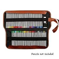 Yosoo Canvas Pencil Wrap, 72 Pencil Holder Colored Pencils Case Roll Multi-Purpose Pouch for School Office Art. Soft Pencil Bag for Travel Makes Your Pencils Organized